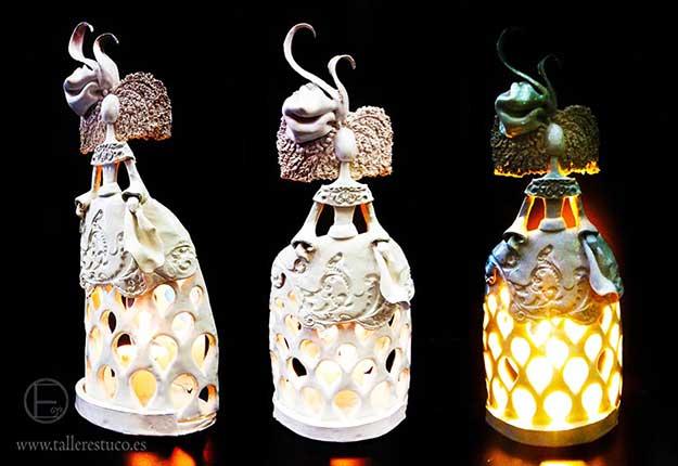 candelabros meninas de cerámica