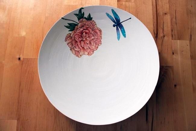 decoracion ceramica plato libélula