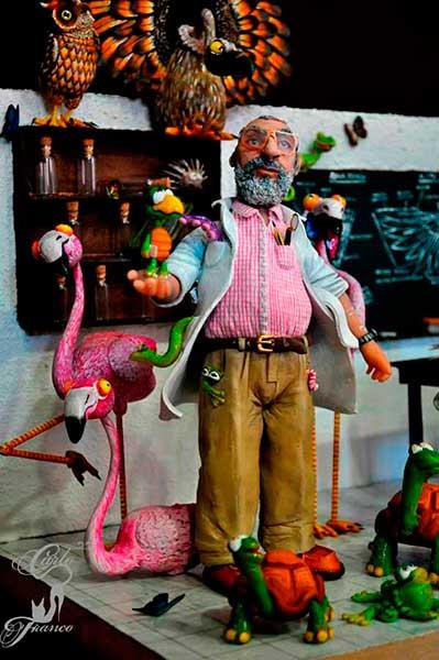 figura de resina hombre con flamenco
