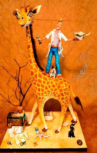 figura de resina jirafa
