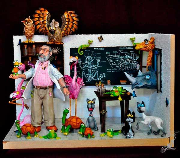 figura de resina profesor con animales