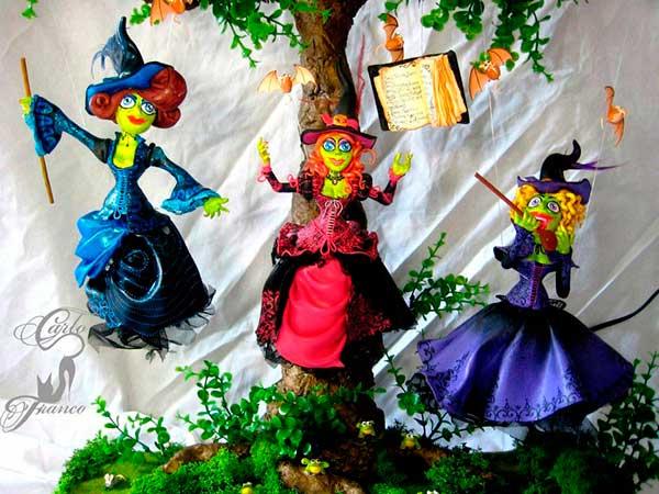 figura de resina de tres brujas