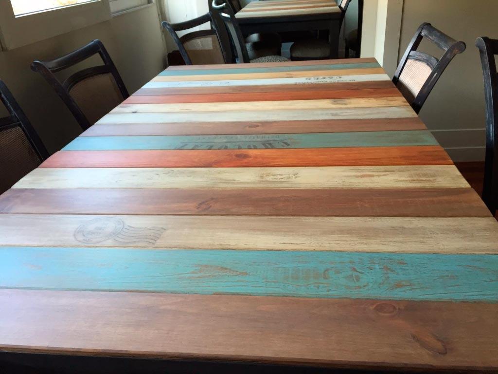 Reciclaje de mesa de comedor moderna taller estuco - Mesas de madera modernas ...