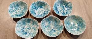 cuencos de ceramica azul turquesa