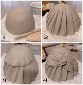 proceso de creación de modelado de cerámica artística