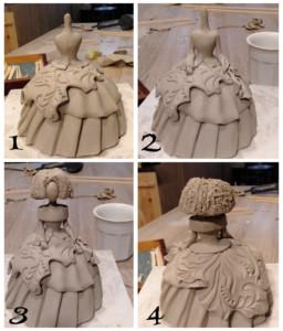 proceso en el curso de cerámica artística